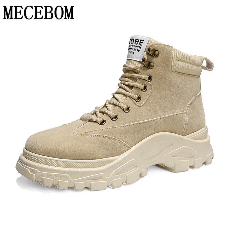 Men's Boots Winter Breathable Solid Color  High Quality British Style Work Boots High Top Thick-soled Non-slip Men's Shoes