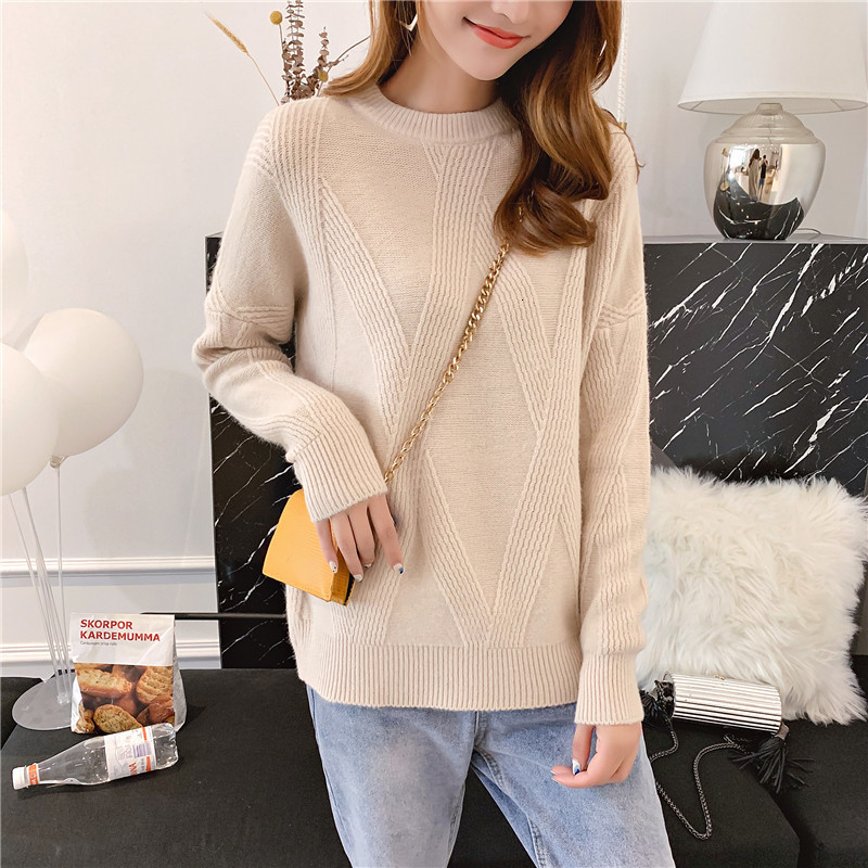 O-Neck Knitwear New Arrival All Match 2019 Loose Solid Long Sleeve Woman Fashion Women Fall Knitted Sweater Pullover Winter