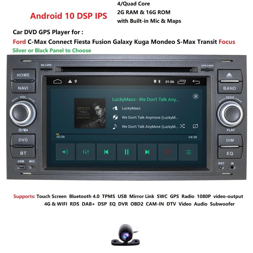 2 din Android 10 Car Radio For <font><b>Ford</b></font> <font><b>Focus</b></font> 2 3 <font><b>mk2</b></font> <font><b>Ford</b></font> Fiesta Mondeo 4 C-Max S-Max Fusion Transit Kuga <font><b>Multimedia</b></font> dvd Navigation image