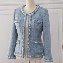 Tweed Jacket Coat 2020 Autumn Women's Beading Long Sleeve Woolen BLAZER Tassels