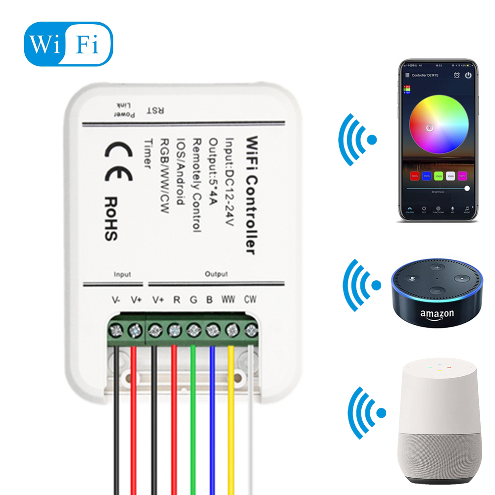 DC12V 24V Wifi LED de contrôle RGB/RGBW/RGBWW bande 16 millions de couleurs musique et Mode minuterie contrôle Wifi par Smartphone IOS/Android