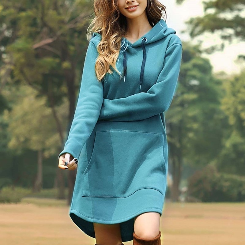 New Spring Autumn Hot Sales Women Sweatshirts Plus Size Casual Loose Solid Hooded MD-Long Style Sweatshirt For Women Hoodies 3XL 4