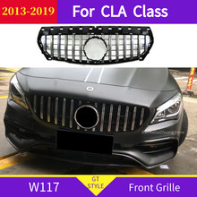 W117 cla classe gt grade dianteira para mercedes 2013-2019 x117 cla200 cla220 cla260 cla45 esporte grade dianteira gt r estilo abs grill