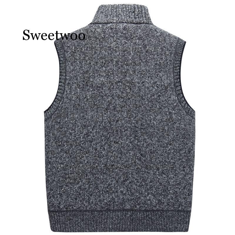 Men's Wool Sweaters Vest 2020 Autumn Winter Thick Warm Casual Cashmere Coat Sleeveless Knitted Vest Jacket Fleece Sweatercoat