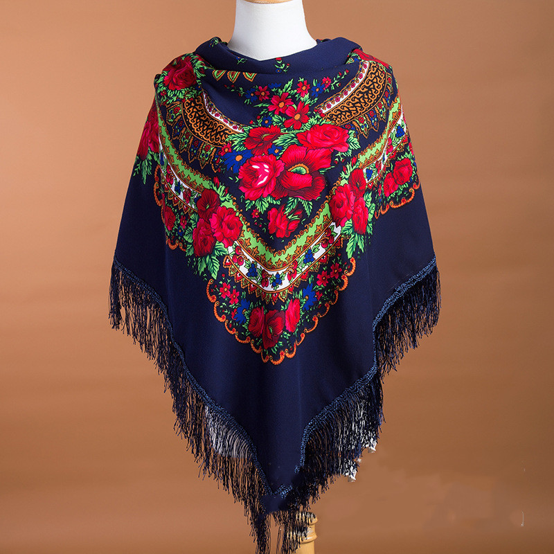 135 135cm Retro Russian National Square Scarf For Women Flower Pattern Print Head Wraps Ladies Fringed