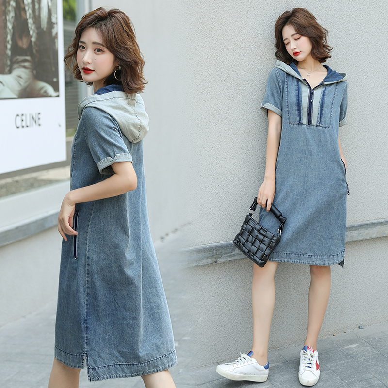 HAYBLST Brand Denim Dress Women 2020 New Summer Hooded Short Sleeves Plus Size Clothes High Quality Kawaii Korean Style Clothing(China)