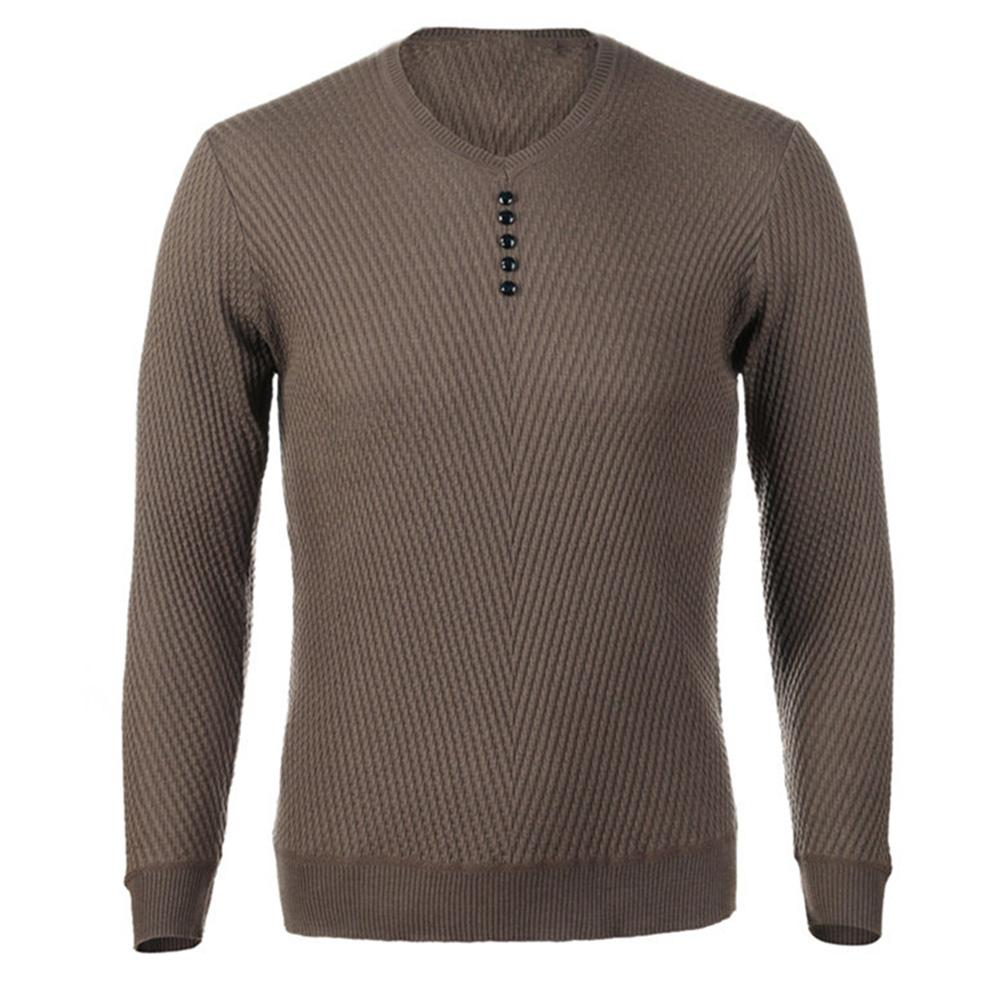 Chic Men Pullovers Solid Color V Neck Long Sleeve Pullover Slim- Fit Knitted Sweater Blouse 5