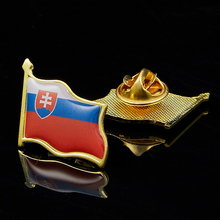 Slovakia Flag Pin Brooch Gold Plated Flag Badge Jewelry Buckle Flag Lapel Hat Tie Pin Tack 5pcs uae flag pin brooch badge jewelry w butterfly buckle metal lapel pin tie hat pin decoration