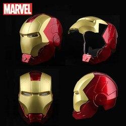 Marvel bohater Avengers Iron Man 1:1 kask akcja figurka zabawka Unisex Cosplay oczy ze światłem rekwizyty dla modeli może otworzyć maskę prezent zabawka
