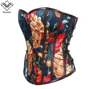 Image 5 - Wechery 꽃 인쇄 코르셋 빈티지 Bustier 탑 체인 장식 뼈 Corselet 파티 쇼 코스프레 의상