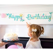 Glitter-Banner Party Garland Mermaid Birthday Baby Shower Party-Decoration Bunting-Flag