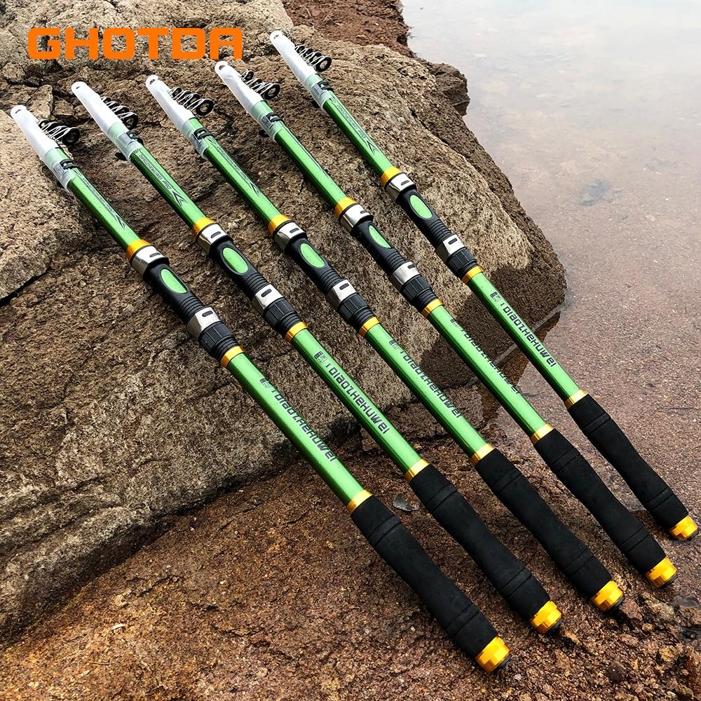 GHOTDA Carbon Fiber FRP 2.1M 2.4M 2.7M 3.0M 3.6M Portable Telescopic Fishing Rod High Performance Sea Fishing Pole pesca Rod