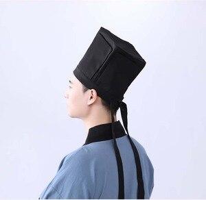 Image 3 - Men Hanfu Hat Chinese traditional Ancient scholar Black Hat Headdress Vintage Fittings Confucian Towel Cosplay Hat For Men Black