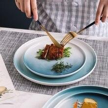 Градиентная двухцветная керамическая тарелка для стейка в западном
