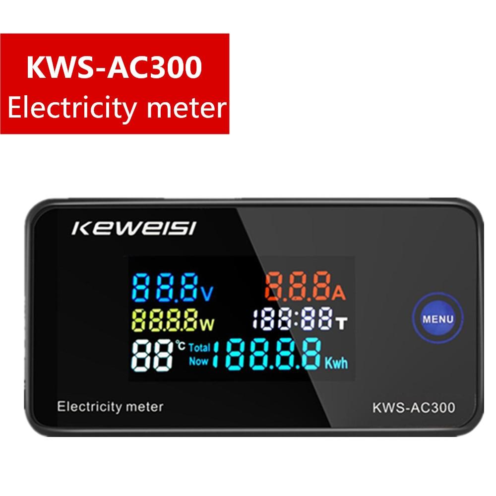 KWS-AC300 Вольтметр Амперметр KWS, измеритель мощности и энергии AC 50-300 В, светодиодный ваттметр переменного тока, счетчик электроэнергии с функци...