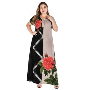 Plus Size Tribal Botanical Print Boho Dress Women Summer Tunic Short Sleeve kaftan ramadan muslim abaya african dashiki VKDR1820