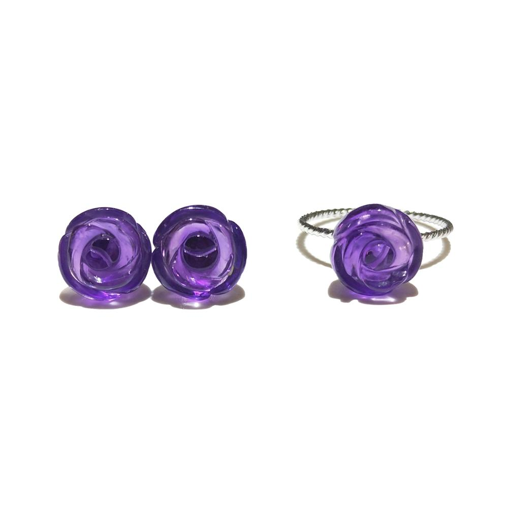 Lii Ji 925 Sterling Silver Real Amethyst Rose Flower Shape Fine Jewelry Set For Wedding Party Christmas Valentine's Day Gift