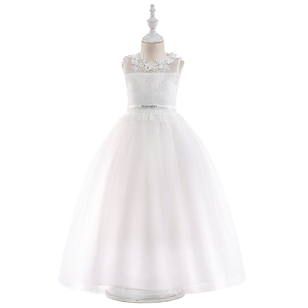 Europe And America Hot Selling Children Wedding Dress Girls Lace Dress Back Hollow Out Bow Princess Ceremony
