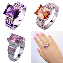2020 European and American fashion ring romantic color zircon ring Copper Silver Plated Platinum micro setting zircon ring