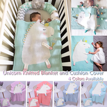 Knitted Unicorn  Cushion Napping Pillow Cover Baby Blanket Kids Hand-knitted Cotton Napping D20
