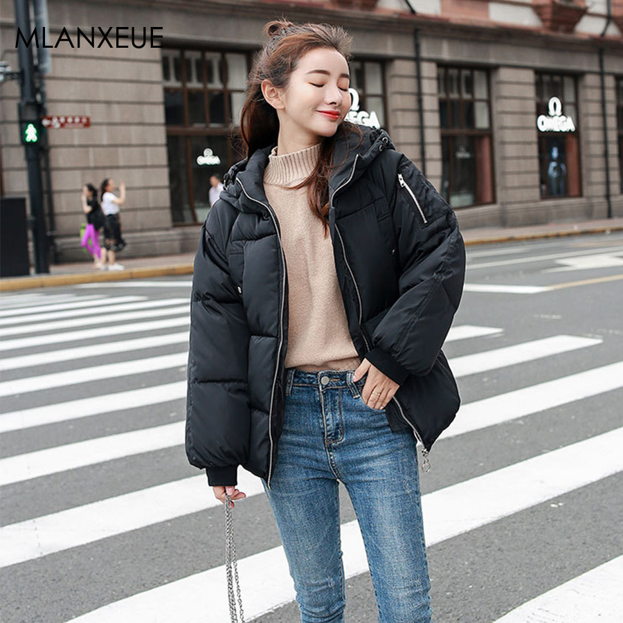 Solid Hooded   Parka   Women Winter Vogue Plus Size Warm Cotton Coats Korean Casual Female Jacket Zipper Oversize Outerwear Thicken