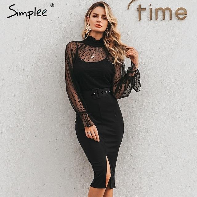 Simplee 섹시한 줄무늬 레이스 여성 드레스 블랙 폴카 도트 벨트 칼집 파티 드레스 퍼프 슬리브 가을 겨울 사무실 숙녀 드레스