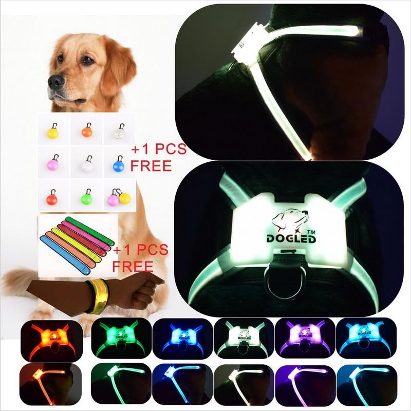 dogled 1PCS Dog Collar luminous Pets collar LED night light Dot Dot Printing Flash dog collar Perros Productos