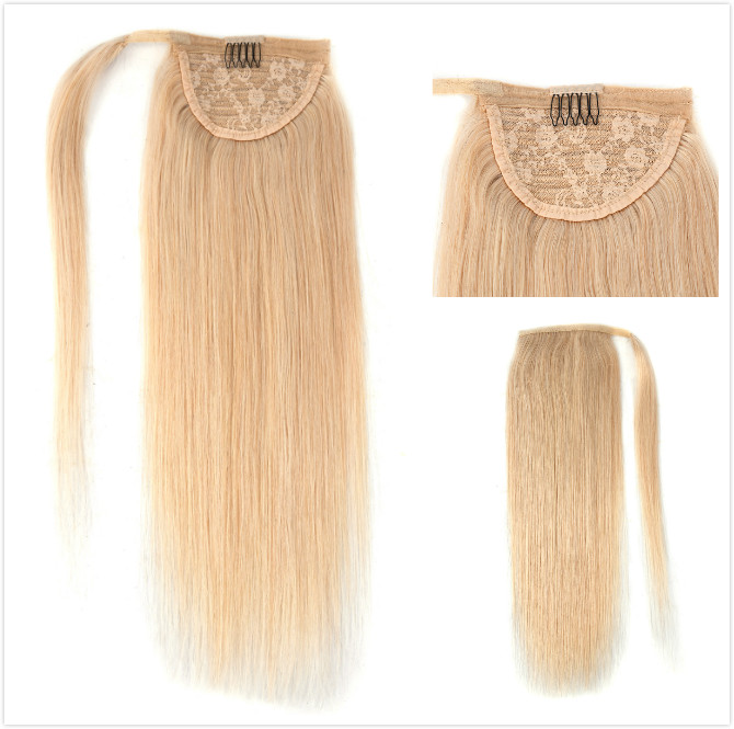 Neitsi Straight Human Hair Ponytail 100% Natural Machine Made Remy Clip In Real Pony Tail Hair Extensions 12