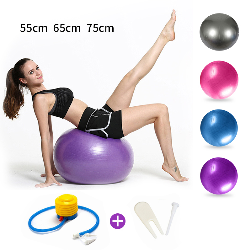 Sports Yoga Balls Fitness Balance Ball Pelota Pilates Equipment Exercise Gym Ball New Balance Women With Pump 55cm 65cm 75cm