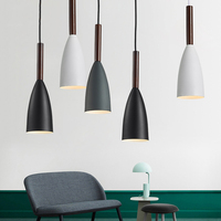 Nordic Minimalism droplight E27 Aluminum Wood Pendant Lights  Home restaurant decor lighting lamp and Bar Showcase spot light|Pendant Lights|   -