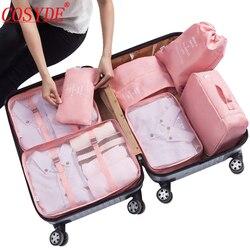 7 pçs/set Cubos de Roupas Organizador Bagagem de Viagem Sacos de Embalagem de Poliéster Todos Para Malas De Viagem Saco De Armazenamento Organizador Malas