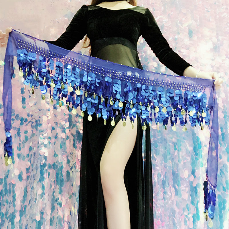 2019  New  Wrap Sequins Belt Coins Chiffon Skirt Hot Sale Women Belly Dance Costume Hip Scarf