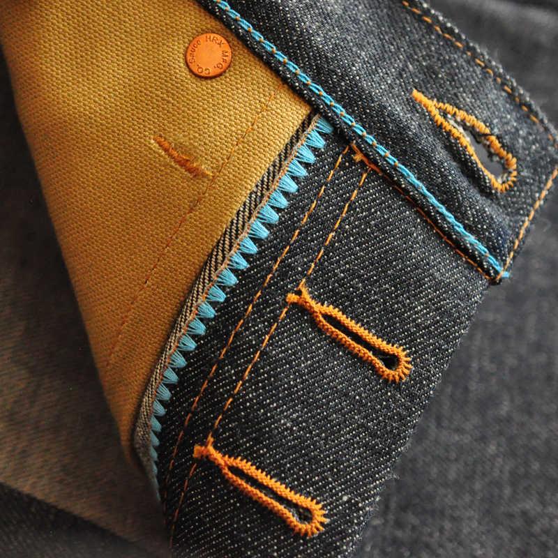 Molho origem ltd edição japonês okayama tecido zimbabwe colorido algodão calças de brim dos homens marca crus jeans selvedge jeans azul