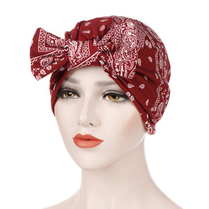 hijab turban caps India bonnet Inner hijabs Muslim head scarf for women print bow wrap cotton  islamic turbante mujer  fashion