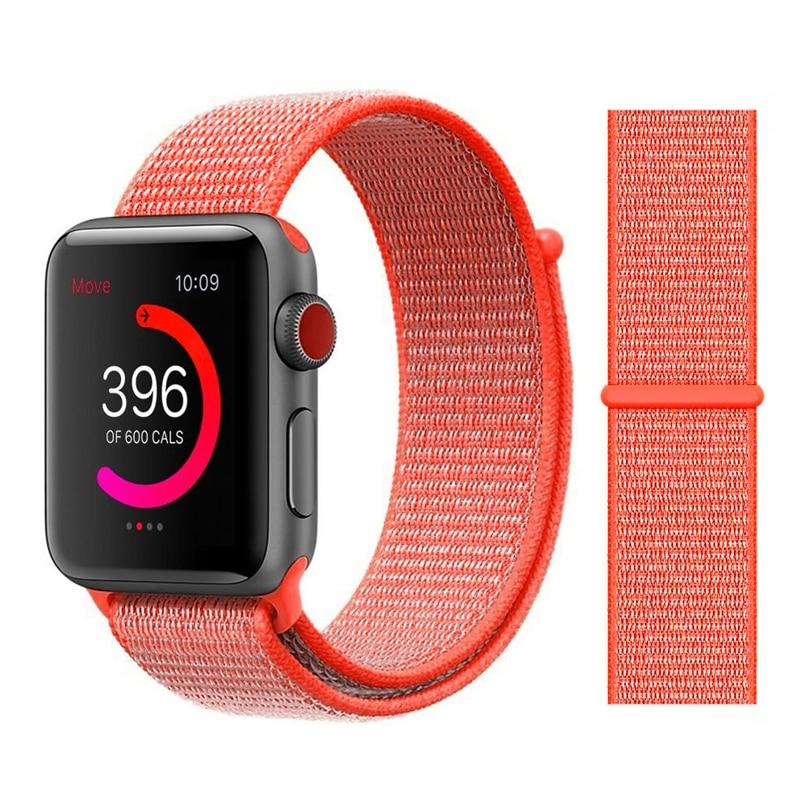 Для наручных часов Apple Watch, версии 3/2/1 38 мм 42 мм нейлон мягкий дышащий нейлон для наручных часов iWatch, сменный ремешок спортивный бесшовный series4/5 40 мм 44 мм - Цвет ремешка: 4 Spicy Orange