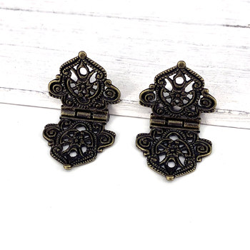 2Pcs 24x54mm Antique Lace Hinges Wooden Furniture Jewelry Box Hardware Cupboard Wardrobe Hinges цена 2017