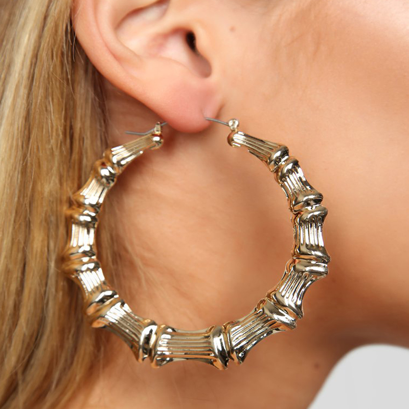 AENSOA 2020 New Punk Gold Color Round Hoop Bamboo Earrings for Women Exaggerated Metal Big Ring Circle Earrings Popular Jewelry
