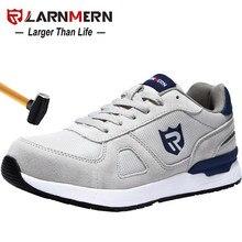 LARNMERN — Chaussures de sécurité pour homme, baskets de travail légères et respirantes, coque en acier pour protection contre les risques d'écrasement du pied, semelles antidérapantes et antistatiques