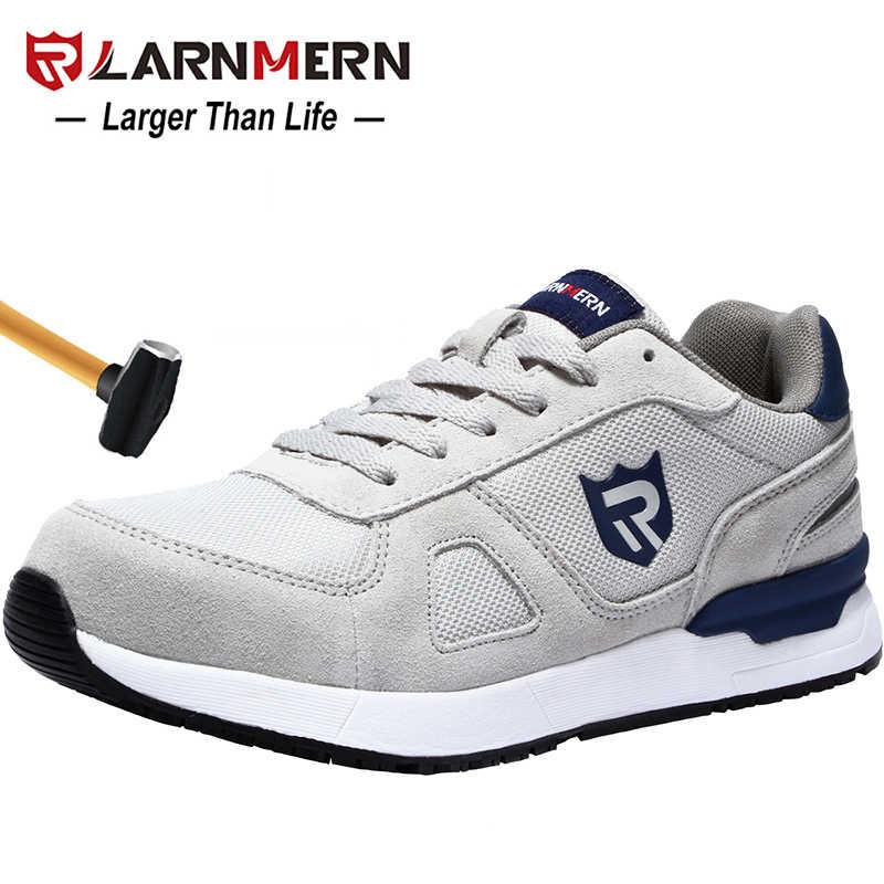 Larnmern Mannen Veiligheid Werkschoenen Stalen Neus Bouw Sneaker Ademend Lichtgewicht Anti-Smashing Anti-Statische Non-slip Schoen