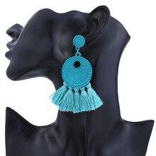 New Design Ethnic Boho Cotton Tassel Earring Dangle Drop Fringed for Women Exaggerated Earrings Ear Jewelry Gift