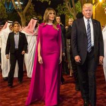 Sevintage Fuchsia arabski Celebrity suknie wieczorowe z Cape piętro długość dubaj czerwony dywan sukienka suknie na bal maturalny Abendkleider tanie tanio Wysoka Bez rękawów Długość podłogi COTTON Poliester Proste Celebrity sukienki Satyna G122001 Z płaszczem Aplikacje