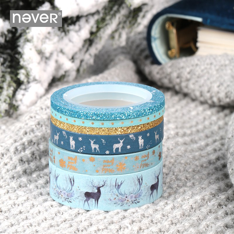 Never Christmas Washi Tape Cute Animal Deer Sticker Foil Masking Tape Planner Diary Scrapbooking Decorative Tape Gift Stationery
