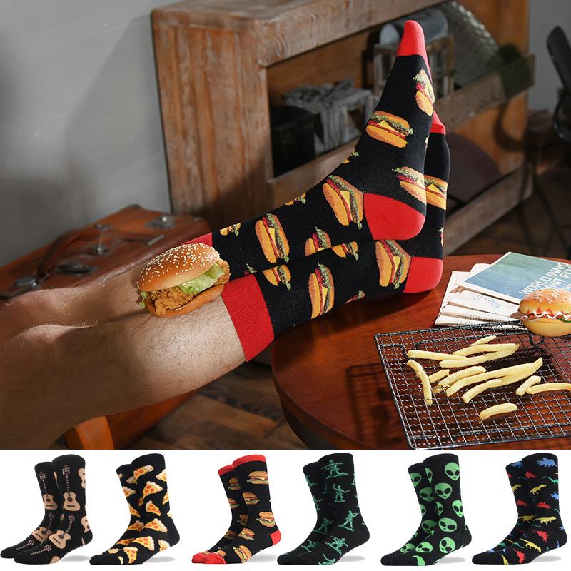 Men's Socks Funny Big Size Alien Delicious Food Print Colorful Snacks Burger Pizza Happy Harajuku Skate Cotton Sokken