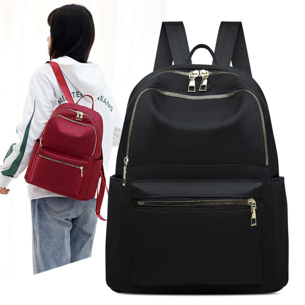 À prova dwaterproof água náilon mochila feminina sólida estudante escola de viagem para adolescentes mochilas de couro do plutônio de alta qualidade