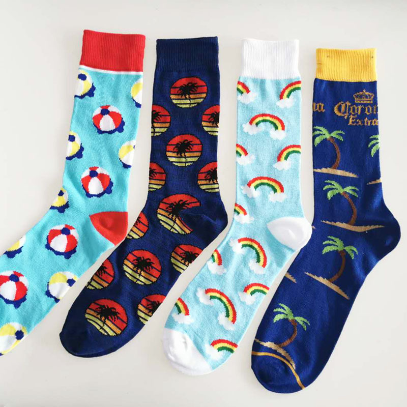 PEONFLY Men Dress Socks Cool Funny Colorful Cotton Socks Classic Optic Filled Novelty Gift Socks Wedding Casual Dress