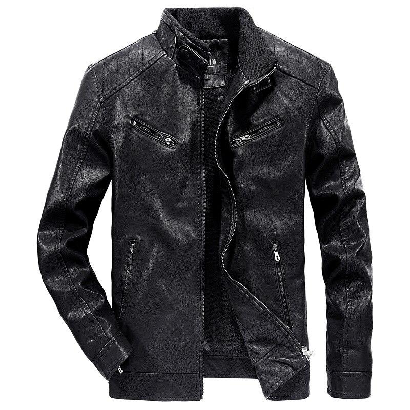 New Style MEN'S Leather Coat Winter Slim Fit Korean-style Stand Collar Plus Velvet Leather Jacket Coat Men'S Wear Youth Jac