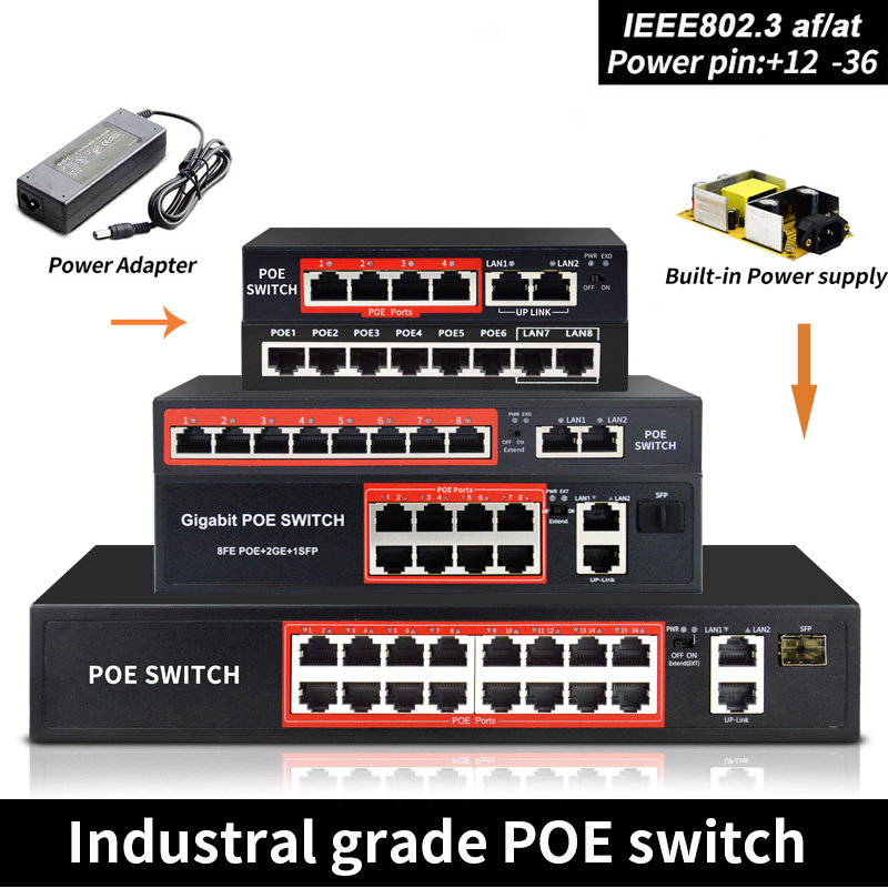48V POE Switch With Standardized RJ45 Port IEEE 802.3 Af/at 4port /8port Network Switch Ethernet With 10/100Mbps For POE Cameras
