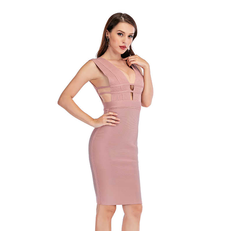 2020 Nieuwkomers Verano Bandage Jurk Vrouwen Club Party Dress Bodycon Sexy Uitsparing Diepe V-hals Gebreide Schede Dames vestidos