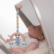 Baby Toys Bed-Bell Panda-Crib Wooden Name Mobile Personalize 1pc Silicone