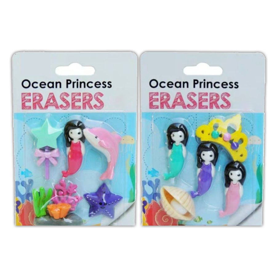 2 Boxes/Lot Ocean Princess Eraser Satisfying Kids Dream To Own Delicate School Eraser With Mermaid Eraser For Sea Queen Toy